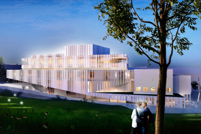 Kristiansund Opera And Culture Centre by C.F. Møller Architects - West elevation, night view from park