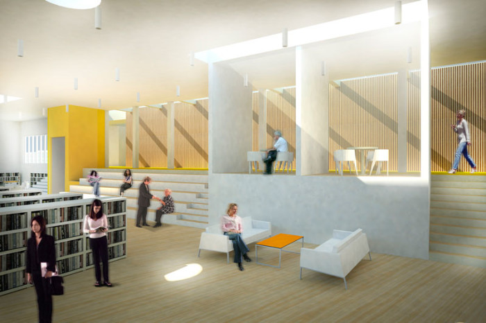 Kristiansund Opera And Culture Centre by C.F. Møller Architects - Interior view of library space