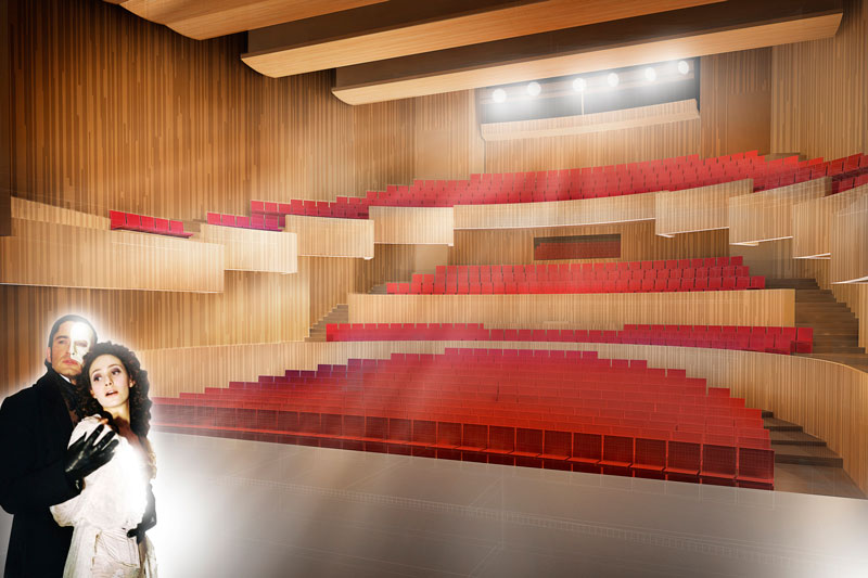 Kristiansund Opera And Culture Centre by C.F. Møller Architects - Interior view of main hall from stage