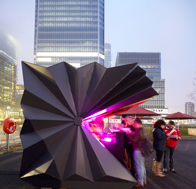 Origami inspired Kiosks by Make Architects