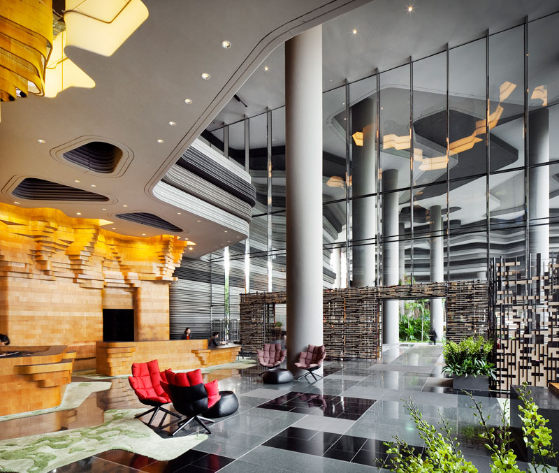 PARKROYAL on Pickering by WOHA - Hotel entrance and lobby