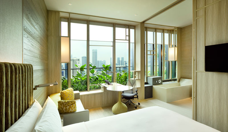 PARKROYAL on Pickering by WOHA - View of sky terrace from deluxe room