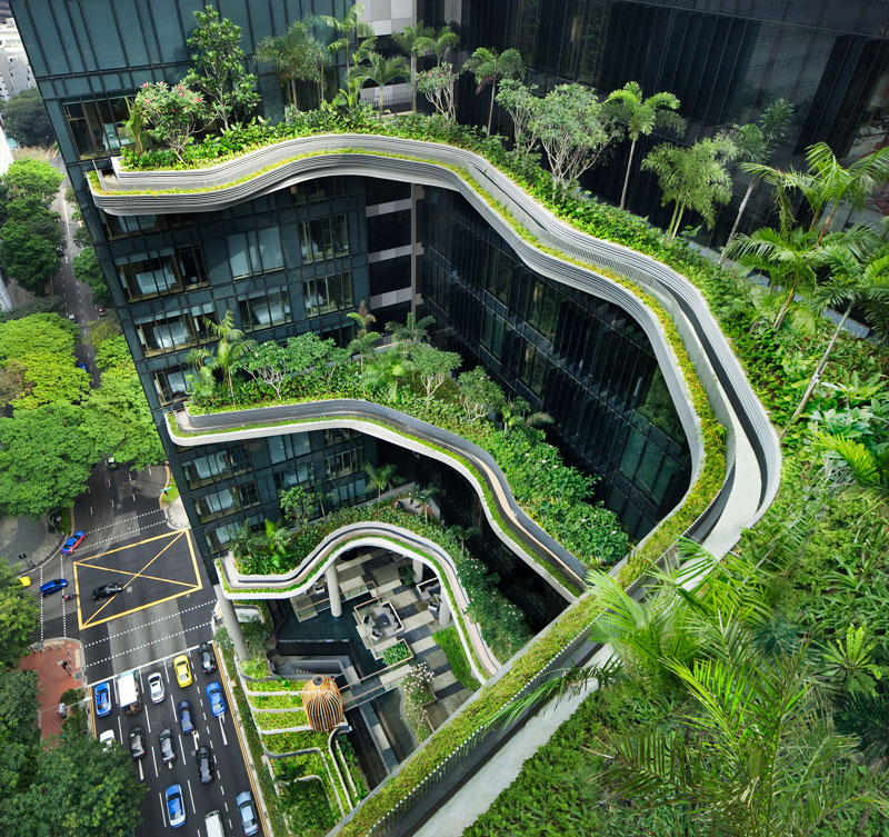 PARKROYAL on Pickering by WOHA - View of sky terraces from club lounge