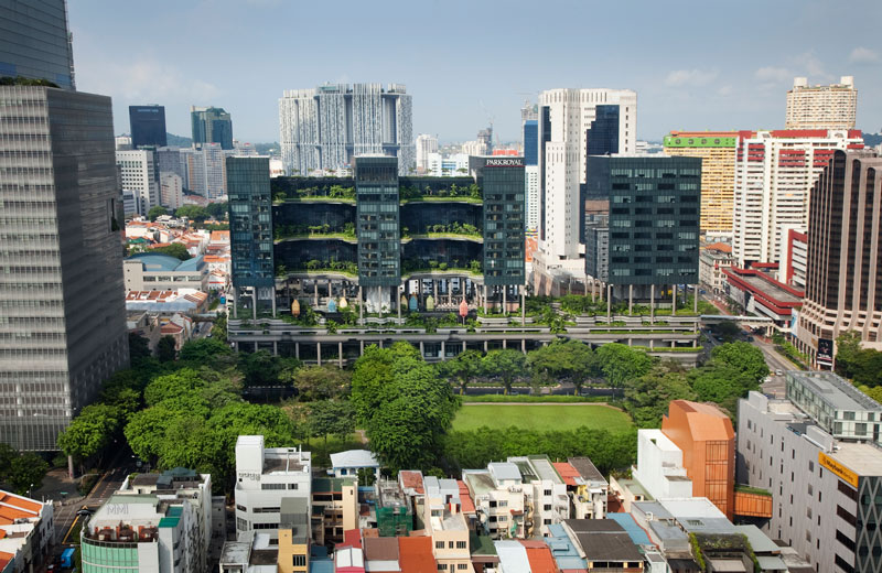 PARKROYAL on Pickering by WOHA - Site context with Hong Lim Park in forefront