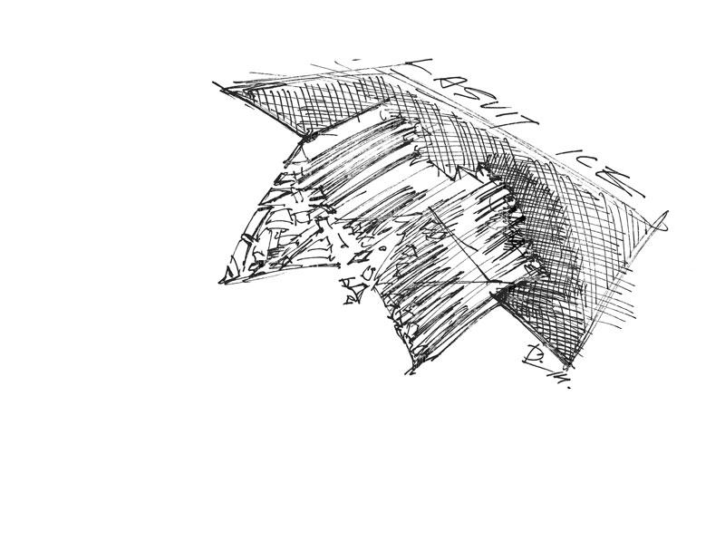 Ice Chandelier by Daniel Libeskind for Lasvit Sketch