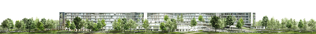 New North Zealand Hospital by C.F. Møller - Elevation east-west