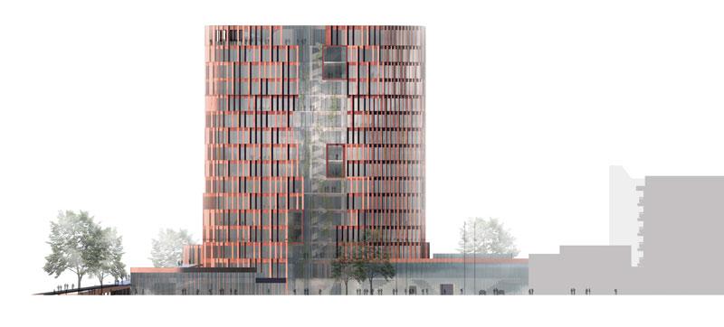 Maersk Building for University of Copenhagen by C.F. Møller - east elevation