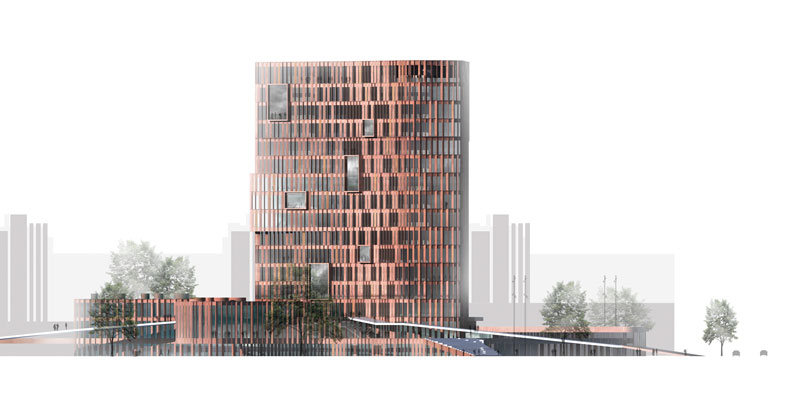 Maersk Building for University of Copenhagen by C.F. Møller - south elevation