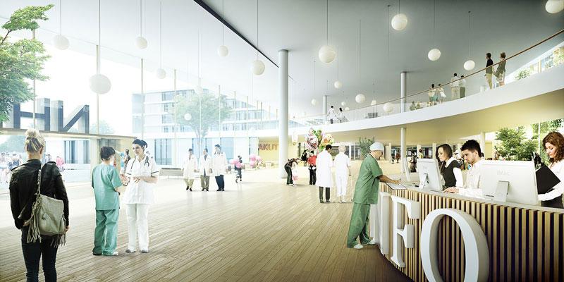New North Zealand Hospital by C.F. Møller - Main entrance reception