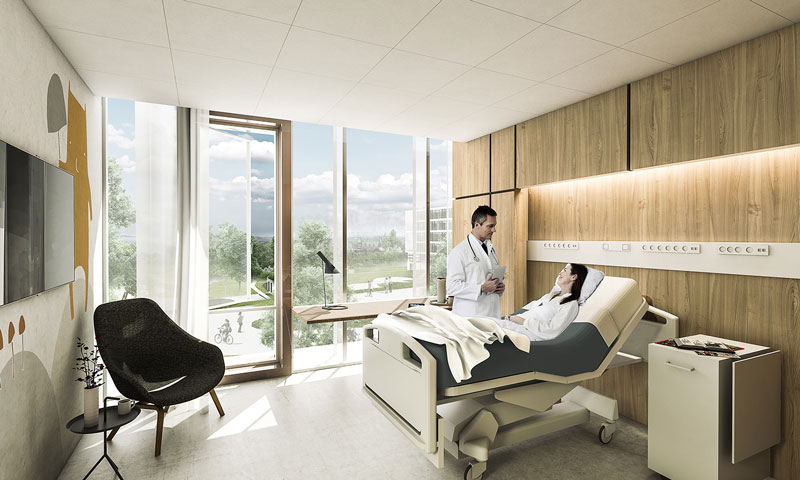 New North Zealand Hospital by C.F. Møller - Patients room