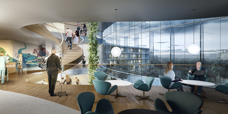 New North Zealand Hospital by C.F. Møller - Wards Communal Spaces