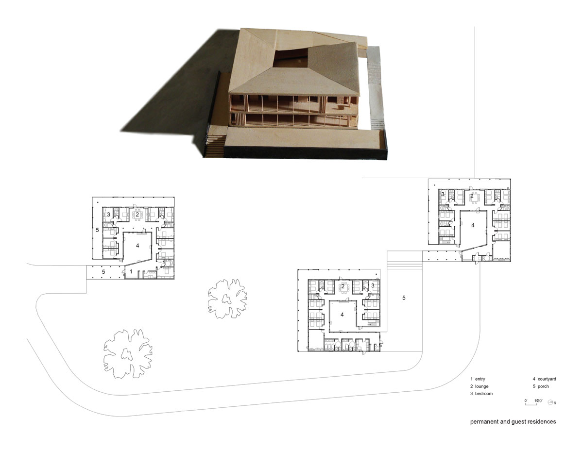 Won Dharma Center by hanrahan Meyers architects - residence plan