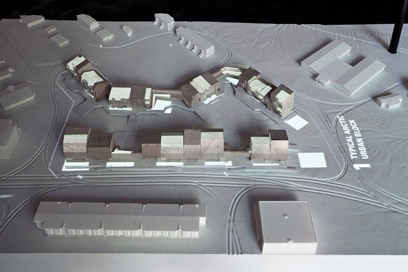 View of animated model showing housing proposal for Iqaluit, Arctic Adaptations; 2014