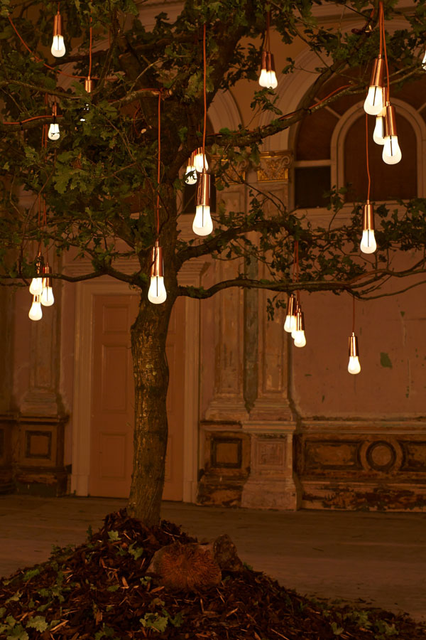 Plumen's Glowing Oak Installation at London Design Festival