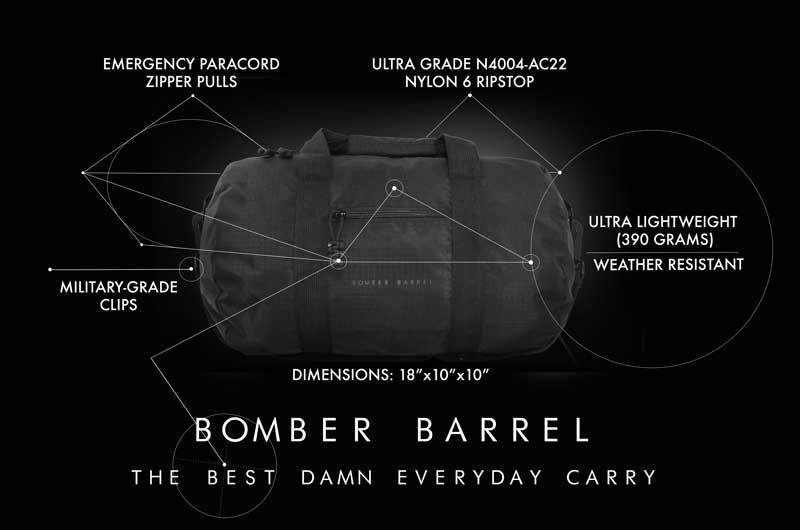 Bomber Barrel Duffel Bag Features