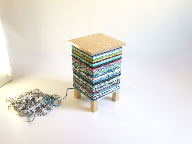 Hugo Ribeiro designs a table wrapped in crocheted plastic bags