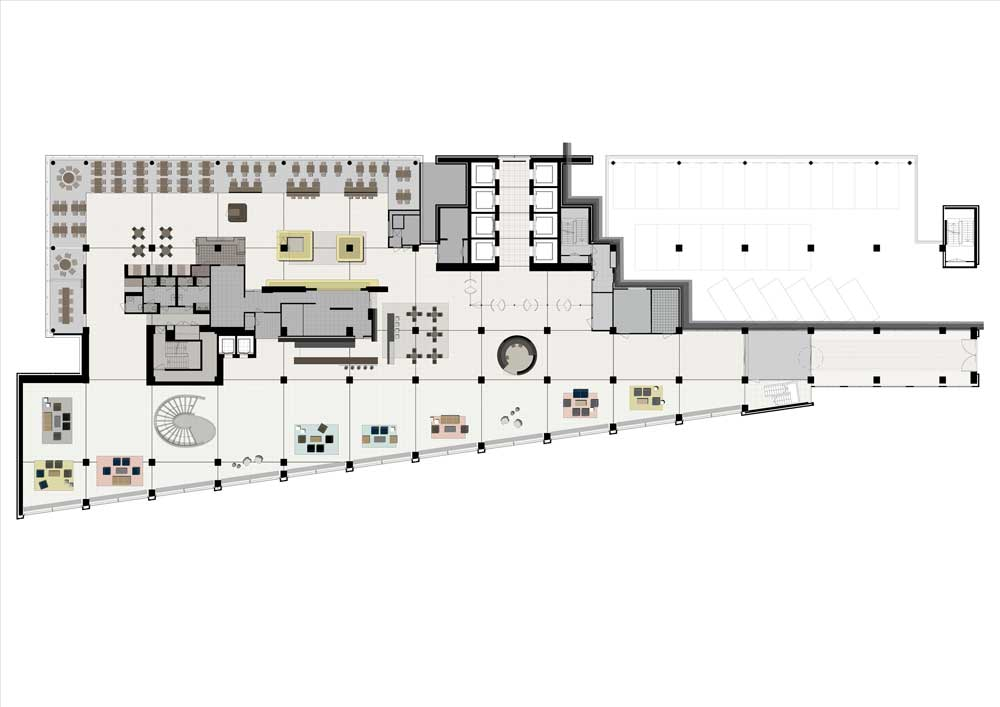 WW Office Building by Powerhouse Company - Lobby Drawing - Ground Floor