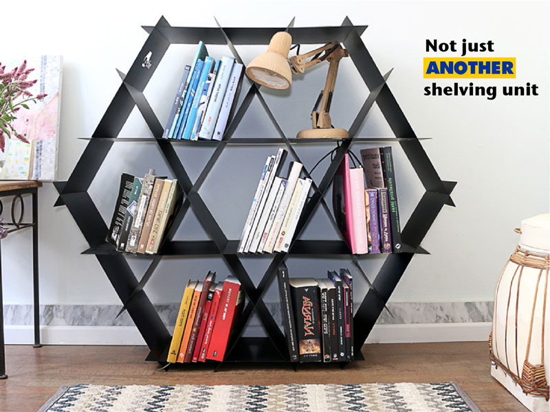 Eco-friendly Ruche shelving unit assembles in 5 minutes