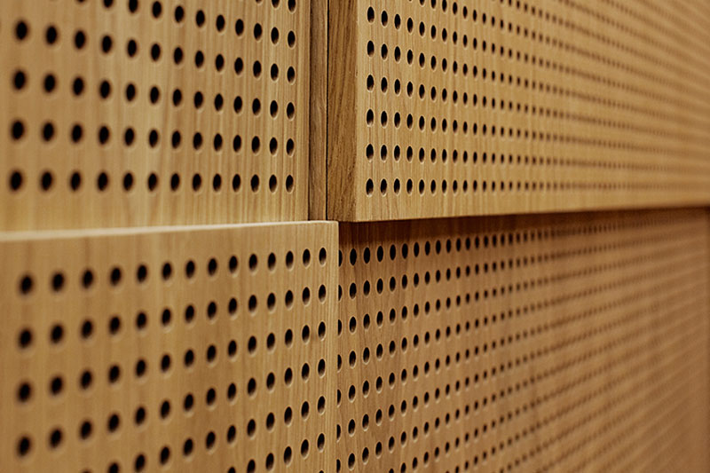Details from the wood work in the four acoustic spaces. The detailing of the veneer interacts with each group of musical instruments to create the optimal soundscape. Sonorous Museum by ADEPT
