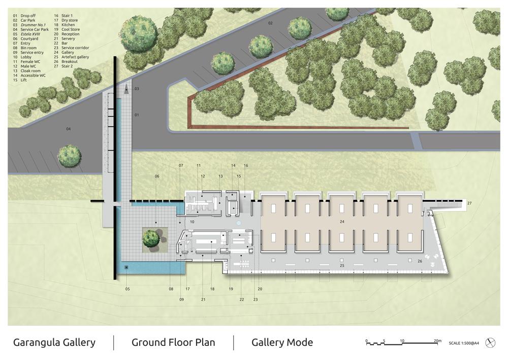 Garangula Gallery by Fender Katsalidis Mirams Architects - ground plan