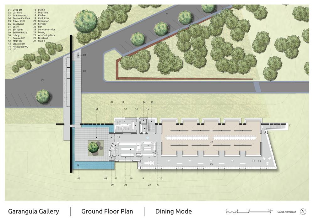 Garangula Gallery by Fender Katsalidis Mirams Architects - ground plan dining