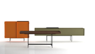 LOCHNESS cupboard and tables by Piero Lissoni for Cappellini