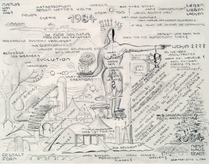 """""""Nature, what is that? — living, loving, laughing"""" Drawing, 1984"""