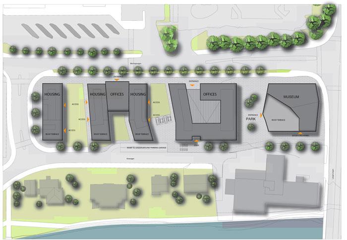 Sogn & Fjordane Art Museum by C.F. Møller - site plan