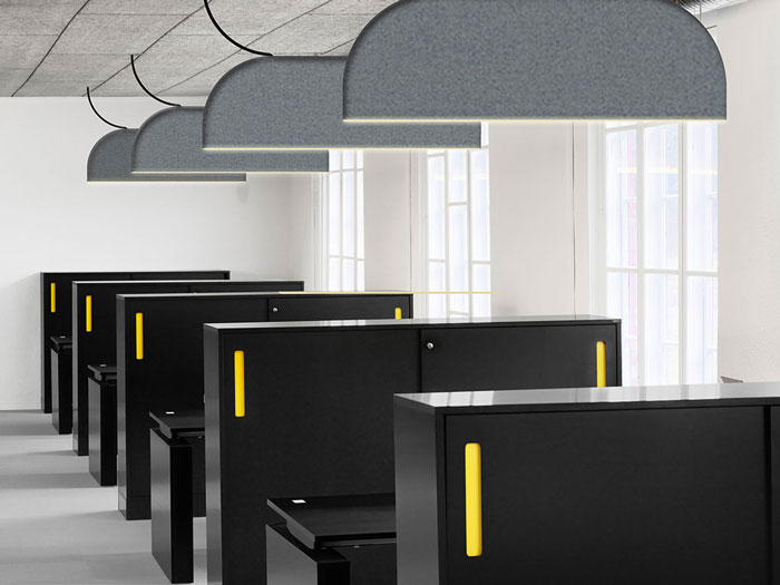 Ultra thin sound absorbing office light by ZERO