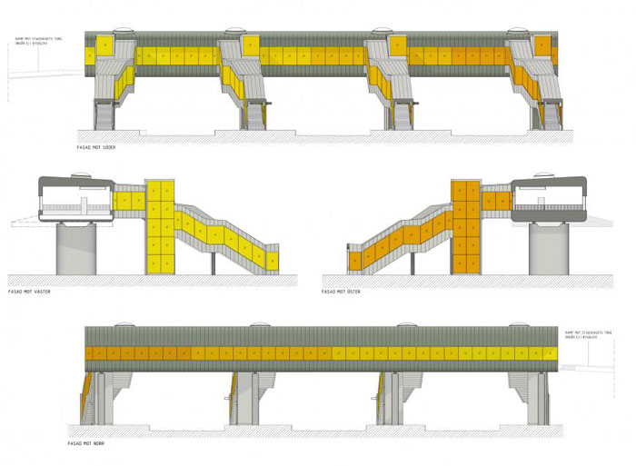 Skyttelbron Shuttle Bridge in Sweden by Sweco Architects - elevation
