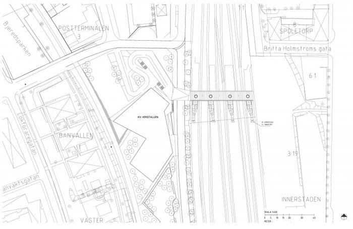 Skyttelbron Shuttle Bridge in Sweden by Sweco Architects - siteplan