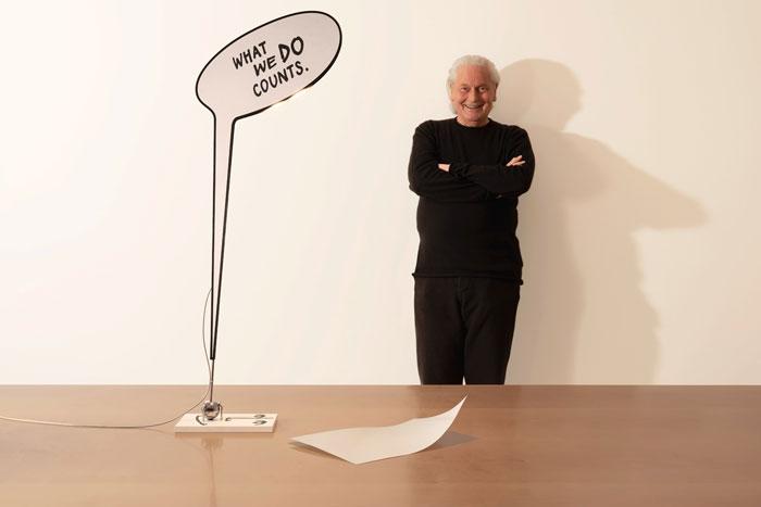 ingo maurer designs a desk lamp with powerful message design chronicle. Black Bedroom Furniture Sets. Home Design Ideas