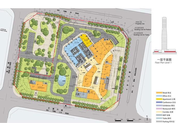 Hengqin International Financial Center by Aedas - ground plan