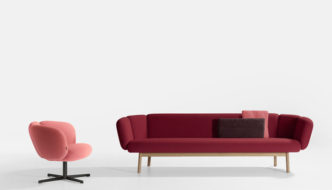 Artifort Bras Wood Sofa and Bras Easy Chair