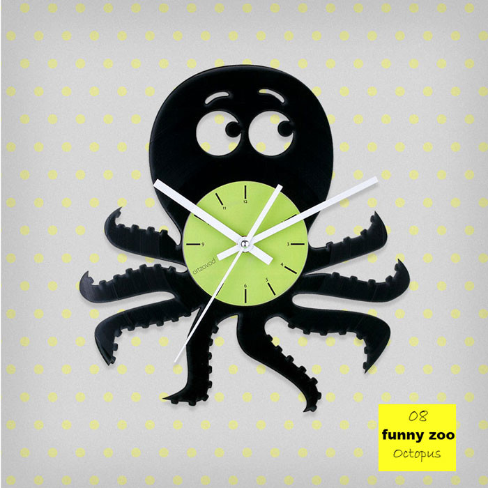 Funny Zoo Octopus Vinyl Clock by ArtZavold
