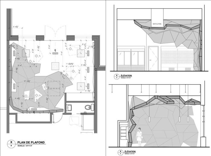 Némeau store by ean de Lessard, Designers Créatifs - Plan / Sections