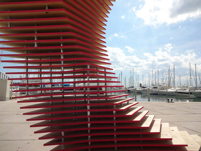 The Port Hole Pavilion by TOMA! team of manufacturers architects at the FAV at La Grande-Motte