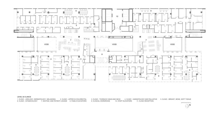 Chris O'Brien Lifehouse by HDR Rice Daubney Second Floor Plan Clinics