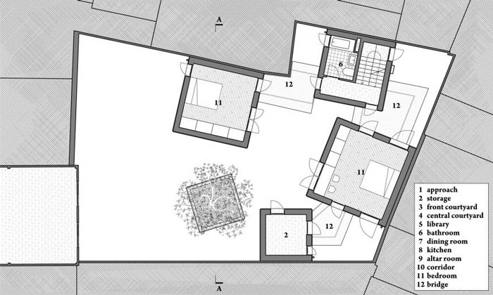 House for Trees by Vo Trong Nghia Architects - Second Floor Plan