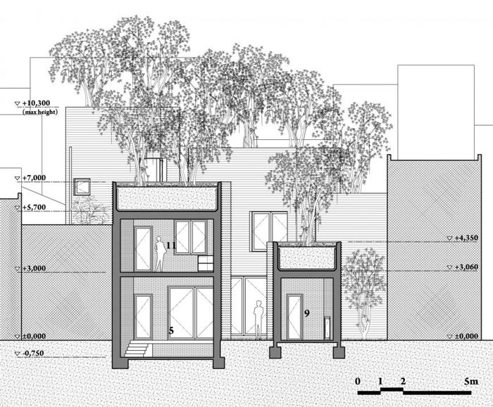 House for Trees by Vo Trong Nghia Architects - Elevation