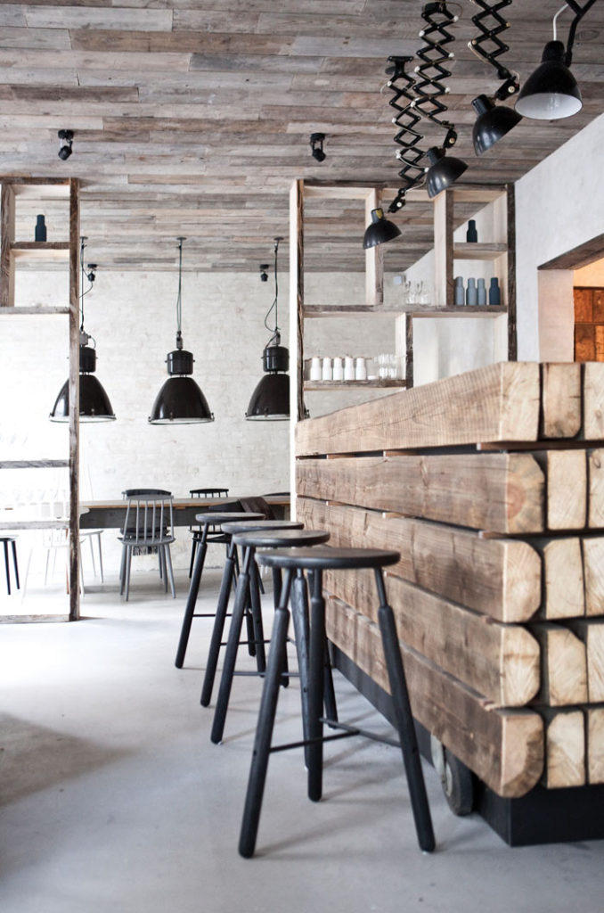An urban restaurant with rural references